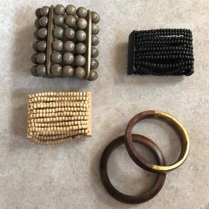 Lot of natural wood bracelets